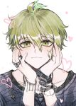 1boy ahoge amami_rantarou antenna_hair bangs blonde_hair blush closed_mouth collarbone danganronpa_(series) danganronpa_v3:_killing_harmony eyebrows_visible_through_hair face green_eyes green_hair hair_between_eyes hands_on_own_cheeks hands_on_own_face hands_up heart jewelry long_sleeves looking_at_viewer male_focus necklace raonal97 ring short_hair simple_background smile solo symbol_commentary translation_request upper_body white_background