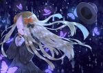 1girl abigail_williams_(fate/grand_order) absurdres blonde_hair bow bug butterfly closed_eyes closed_mouth dark_background eyebrows_visible_through_hair fate/grand_order fate_(series) hair_bow hair_ornament hands_up hat highres huge_filesize insect long_hair long_sleeves night orange_bow pink_butterfly sinobi_illust solo