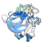 1girl black_eyes blue_footwear blue_legwear blue_shirt blue_shorts blue_sky boots closed_mouth clouds commentary_request earrings full_body fur-trimmed_footwear gen_3_pokemon green_eyes green_hair hair_ornament hairclip hand_up happy high_ponytail highres jewelry lisia_(pokemon) long_hair looking_to_the_side navel one_eye_closed open_mouth pokemon pokemon_(creature) pokemon_(game) pokemon_oras rorosuke shiny shiny_hair shirt short_shorts shorts showgirl_skirt sidelocks simple_background single_thighhigh sky sleeveless sleeveless_shirt smile sparkle standing star_(sky) stomach striped striped_legwear swablu thigh-highs tied_hair w white_background