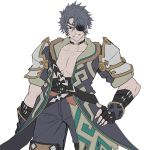 1boy belt coat cowboy_shot eyepatch grey_eyes grey_hair grin hand_on_hip highres hksicabb male_focus multiple_belts open_clothes open_coat pectorals simple_background smile solo white_background xenoblade_chronicles_(series) xenoblade_chronicles_2 zeke_von_genbu_(xenoblade)