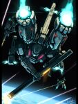 bottoms1237 earth_(planet) firing flying from_above gun highres holding holding_gun holding_sword holding_weapon laser mecha original planet science_fiction sheath solo_focus sword unsheathing weapon