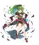 1girl bangs belt bracelet closed_mouth dress eyebrows_visible_through_hair fingernails fire_emblem fire_emblem:_mystery_of_the_emblem fire_emblem_heroes full_body fur_trim gold_trim green_eyes green_hair highres jewelry long_hair official_art ponytail shiny shiny_hair shiny_skin shoes short_dress sleeveless solo tiara tied_hair tiki_(fire_emblem) transparent_background