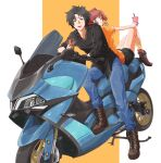 1boy 1girl absurdres back-to-back black_hair blue_eyes boots brown_eyes bubble_tea drink drinking_straw eating food ground_vehicle highres holding holding_drink holding_food kuon_(08080018) mikado_reo mikagami_mimika moped motor_vehicle open_mouth redhead short_hair sitting soukyuu_no_fafner