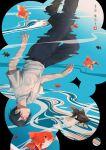 1boy belt black_hair black_pants fish goldfish june_mina original pants reflection ripples shirt shirt_tucked_in short_hair short_sleeves solo white_shirt