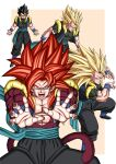 absurdres bare_pecs biceps black_pants dbkenkyuusei dragon_ball dragon_ball_heroes earrings fusion fusion_dance gogeta gogeta_(xeno) highres incoming_attack jewelry kamehameha monkey_boy monkey_tail no_nipples pants potara_earrings powering_up red_fur redhead spiky_hair super_saiyan super_saiyan_1 super_saiyan_3 super_saiyan_4 tail