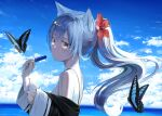 1girl animal_ears bangs blue_hair blush bra_strap breasts bug butterfly clouds floating_hair flower food grey_eyes hair_flower hair_ornament hibiscus highres holding holding_food ice_cream insect long_hair looking_at_animal medium_breasts mikisai ocean open_mouth original ponytail sidelocks sky solo water