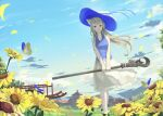 1girl animal_ears bangs blonde_hair blue_ribbon breasts bug butterfly clouds day flower hat highres holding insect long_hair medium_breasts mikisai open_mouth original red_eyes ribbon scenery sidelocks skirt sky solo sunflower white_legwear