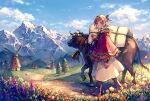 1girl akagi_shun bangs bell boots brown_footwear bull chinese_zodiac cloak clouds covered_wagon cowbell day dirt_road field flower grass hair_ribbon head_wreath hood hooded_cloak looking_at_viewer looking_to_the_side mountain mountainous_horizon original outdoors path red_cloak ribbon road short_hair skirt smile solo standing tree white_skirt windmill year_of_the_ox