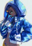 1girl belly_chain black_hair blue_eyeshadow blue_jacket dark_skin dark_skinned_female dive_ball earrings eyeshadow gloves gym_leader hand_in_pocket hand_up head_tilt holding holding_poke_ball hood hood_up hooded_jacket hoop_earrings jacket jewelry long_hair long_sleeves looking_at_viewer makeup navel nessa_(pokemon) poke_ball pokemon pokemon_(game) pokemon_swsh setta_shu solo zipper zipper_pull_tab