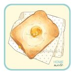 bread egg egg_yolk english_text food food_focus le_delicatessen napkin no_humans original pepper simple_background toast white_background