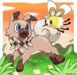 animal_focus artist_name blue_eyes brown_eyes brown_outline closed_mouth clouds commentary cutiefly eye_contact flower from_side full_body gen_7_pokemon gradient_sky grass happy highres jumping looking_at_another no_humans orange_sky outline pokemon pokemon_(creature) rockruff rorosuke running sky smile sunset twitter_username white_flower