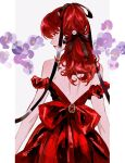 1girl back bangs bare_shoulders black_ribbon bow closed_mouth commentary dress english_commentary framed from_behind grey_background hair_between_eyes hair_ornament hair_ribbon highres huangdanlan jewelry lips long_hair looking_away looking_to_the_side off-shoulder_dress off_shoulder persona persona_5 persona_5_the_royal ponytail red_bow red_dress red_eyes red_lips redhead ribbon simple_background solo upper_body white_background yoshizawa_kasumi