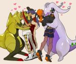 2boys baseball_cap black_hair black_hoodie cape champion_uniform commentary_request dark_skin dark_skinned_male dynamax_band earrings facial_hair fur-trimmed_cape fur_trim gen_5_pokemon gen_6_pokemon gloves goodra hat haxorus heart highres hood hoodie jewelry leon_(pokemon) long_hair male_focus multiple_boys partially_fingerless_gloves picube525528 pokemon pokemon_(creature) pokemon_(game) pokemon_swsh purple_hair raihan_(pokemon) red_cape shirt shoes short_shorts short_sleeves shorts side_slit side_slit_shorts standing white_shorts yellow_eyes