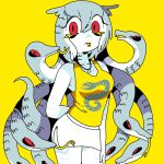 1girl arm_behind_back forked_tongue gorgon grey_hair highres jewelry living_hair long_hair looking_at_viewer necklace original panapana print_shirt red_eyes scales shirt simple_background skirt snake snake_hair solo tank_top tongue tongue_out very_long_hair white_skirt yellow_background yellow_tank_top