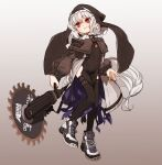 1girl amonitto arknights black_legwear blush chain_necklace circular_saw clothing_cutout fingernails flat_chest full_body grey_hair habit holding holding_weapon long_sleeves pelvic_curtain puffy_long_sleeves puffy_sleeves purple_nails red_eyes shoes short_hair slit_pupils sneakers solo specter_(arknights) tail thigh-highs thigh_cutout thigh_strap weapon