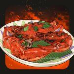 animal black_background bowl crab crab_claw crustacean english_text fire food food_focus highres le_delicatessen leaf no_humans original simple_background sparkle still_life
