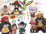 1girl 2boys black_hair black_hoodie blush bob_cut brown_hair commentary_request dark_skin dark_skinned_male disco_ball earrings flygon flying_sweatdrops gen_3_pokemon gloria_(pokemon) gloves go-goggles gym_leader hand_on_another's_face holding hood hoodie hop_(pokemon) jewelry legs_apart multiple_boys orange_headwear outstretched_arms picube525528 pokemon pokemon_(creature) pokemon_(game) pokemon_swsh raihan_(pokemon) shirt shoes short_hair shorts side_slit side_slit_shorts spread_legs squatting standing translation_request trapinch