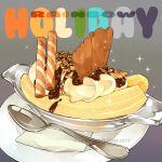 banana bowl chocolate cream dessert english_text food food_focus fruit glass le_delicatessen napkin no_humans original plate rainbow simple_background sparkle spoon still_life
