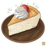 artist_name cake cake_slice english_text food food_focus fruit nanashi_(freshman) no_humans original plate simple_background sparkle still_life strawberry white_background