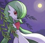 1girl bangs bob_cut closed_mouth colored_skin commentary flat_chest full_moon gardevoir gen_3_pokemon green_hair green_skin hair_over_one_eye happy highres looking_down moon multicolored multicolored_skin night outdoors pokemon pokemon_(creature) purple_sky red_eyes rorosuke short_hair smile solo two-tone_skin white_skin