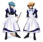 2boys absurdres alternate_costume apron bangs black_footwear black_legwear blue_eyes blue_hair blue_shirt broom brown_eyes brown_hair closed_mouth crossdressing enmaided full_body grin hair_between_eyes hand_in_pocket hands_in_pockets highres holding holding_broom johan_andersen long_hair long_sleeves maid mary_janes multicolored_hair multiple_boys natsukusa_(hacho129) shiny shiny_hair shirt shoes simple_background smile two-tone_hair white_apron white_background yu-gi-oh! yu-gi-oh!_gx yuuki_juudai