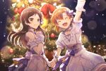 2girls :d arm_up back_bow blue_bow blue_gloves bow brown_eyes brown_hair character_request christmas christmas_tree closed_eyes corset detached_sleeves dress floating_hair fur-trimmed_dress fur-trimmed_gloves fur_trim gloves grin holding_hands lens_flare long_hair multiple_girls nanase_(nns_6077) night open_mouth outdoors shiny shiny_hair short_hair short_sleeves sleeveless sleeveless_dress smile standing