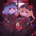 2girls bat_wings black_dress black_headwear blonde_hair blue_hair blush bow dress fangs feet_out_of_frame flandre_scarlet flower flower_basket hand_over_heart highres multiple_girls open_mouth pointing red_bow red_eyes red_sky remilia_scarlet rose sky subaru_(subachoco) touhou window wings
