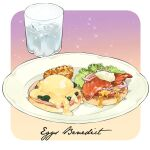cup drink egg eggs_benedict english_text fish food food_focus glass ice ice_cube le_delicatessen leaf meat no_humans onion original plate simple_background sparkle still_life vegetable water