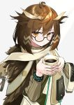 1girl ahoge arknights brown_eyes brown_hair coffee_mug cup feathers glasses hair_feathers highres mug poyano scarf silence_(arknights) sweater