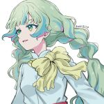 1girl aikatsu!_(series) aikatsu_planet! aqua_eyes aqua_hair bangs blouse blunt_bangs blurry braid close-up colored_eyelashes commentary dated green_eyes green_hair highres looking_away multicolored multicolored_eyes multicolored_hair parted_lips pink_hair q-pit scarf sidelocks simple_background sketch solo streaked_hair twin_braids upper_body white_background white_blouse yellow_scarf yoban