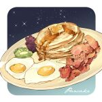 bacon blue_background butter egg english_text food food_focus fried_egg fruit gradient gradient_background grapes kiwi_slice kiwifruit le_delicatessen meat no_humans original pancake plate simple_background sparkle stack_of_pancakes still_life syrup white_background