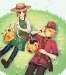 1boy 1girl adjusting_clothes adjusting_headwear animal apron artist_name belt blonde_hair boots brown_footwear brown_hair button_eyes cat closed_mouth collared_shirt dog emma_woods flower freckles gloves grass green_eyes hajime_(gitoriokawaii) hat holding identity_v lying on_back on_ground one_eye_closed red_headwear shirt short_hair smile stitched_mouth stitches stuffing twitter_username victor_grantz watch watch white_flower white_gloves white_shirt yellow_eyes
