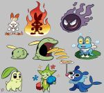 :3 aqua_skin black_eyes blue_skin body_fur bubble butter chikorita closed_eyes closed_mouth colored_sclera colored_skin creature eyelashes fangs fire flower food froakie full_body gen_2_pokemon gen_3_pokemon gen_6_pokemon gen_7_pokemon gen_8_pokemon green_skin grey_background gulpin happy lily_pad looking_at_viewer no_humans one_eye_closed open_mouth pancake plate pokemon pokemon_(creature) popplio purple_skin red_eyes rose roselia roxlyn166 scorbunny signature simple_background smile sparkle standing starter_pokemon white_fur yellow_sclera