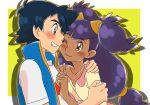 1boy 1girl amada ash_ketchum ash_ketchum_(cosplay) black_hair blush brown_eyes cosplay dark_skin dark_skinned_female iris_(pokemon) long_hair pokemon pokemon_(anime) pokemon_swsh_(anime) purple_hair smile
