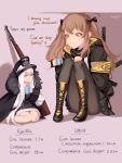 2girls :3 artist_name bare_legs bolt_action boots bow brown_hair cup dress english_text fur_trim girls_frontline gun h&k_ump hair_bow hair_ornament hairclip hat height_difference highres hood hood_down hoodie iron_cross kar98k_(girls_frontline) knees_to_chest long_hair mauser_98 mug multiple_girls pantyhose peaked_cap pinky_out ragingcherrypie red_eyes rifle sitting smile submachine_gun ump9_(girls_frontline) very_long_hair weapon white_hair