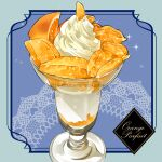 2017 artist_name blue_background commentary_request cup dated dessert doily english_text food fruit glass highres ice_cream le_delicatessen no_humans orange orange_slice original parfait sparkle still_life watermark