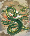 black_sclera claws clouds colored_sclera commentary dragon eastern_dragon fangs fiona_hsieh gen_3_pokemon legendary_pokemon no_humans open_mouth pokemon pokemon_(creature) rayquaza signature yellow_eyes