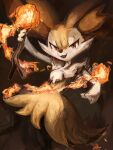 1girl :3 animal_ear_fluff animal_ears animal_nose arm_up artist_name black_fur blush body_fur braixen brown_background commentary fang fire flat_chest fox_ears fox_girl fox_tail gen_6_pokemon happy highres holding holding_stick ikei light_blush looking_at_viewer open_mouth pokemon pokemon_(creature) red_eyes signature simple_background smile snout solo standing stick tail white_fur yellow_fur