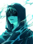 1boy blindfold blue_theme cloak eli_clark facial_mark frontierpax hood hood_up hooded_cloak identity_v male_focus parted_lips short_hair simple_background smile solo upper_teeth white_background