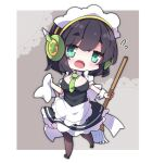 1girl :o apron bangs black_dress black_footwear black_hair blush breasts brown_legwear commentary_request dress eyebrows_visible_through_hair flying_sweatdrops full_body green_eyes green_neckwear hair_between_eyes headphones highres holding kyoumachi_seika large_breasts looking_at_viewer milkpanda necktie open_mouth pantyhose shoes short_eyebrows solo thick_eyebrows voiceroid walking white_apron