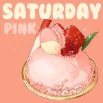 dessert english_text food food_focus fruit le_delicatessen leaf macaron no_humans original pink_background raspberry simple_background sorbet_(food) sparkle still_life strawberry water