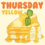 cake crepe dessert english_text food food_focus fruit garnish le_delicatessen leaf mango no_humans original pastry simple_background sparkle still_life yellow_background