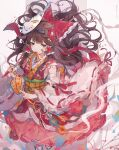 1girl absurdres bandages bandaid bandaid_on_face bow brown_eyes brown_hair detached_sleeves dress eyebrows_visible_through_hair floating_hair flower fox_mask hair_bow hair_flower hair_ornament hair_tubes hakurei_reimu highres holding long_hair long_sleeves looking_at_viewer mask mouth_hold obi red_bow red_dress ribbon_trim sandals sash simple_background solo touhou umemaro_(siona0908) white_background