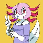 axolotl bare_shoulders cup drinking_straw fingernails hair_between_eyes highres holding holding_cup long_sleeves off-shoulder_shirt off_shoulder original panapana pink_hair purple_shirt sharp_fingernails shirt short_hair simple_background v yellow_background