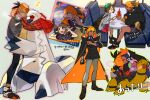 1boy 1girl backpack bag black_hair blush bob_cut boots brown_bag brown_eyes brown_footwear brown_hair cardigan character_name claw_pose clenched_teeth commentary_request dark_skin dark_skinned_male dress duraludon dynamax_band gen_3_pokemon gen_4_pokemon gen_6_pokemon gen_8_pokemon gloria_(pokemon) goomy green_headwear grey_cardigan gym_leader hat holding hood hooded_cardigan hoodie musical_note orange_headwear picube525528 plaid plaid_scarf pokemon pokemon_(game) pokemon_swsh raihan_(pokemon) rotom rotom_phone scarf shared_scarf shoes short_hair sitting smile standing star_(symbol) tam_o'_shanter teeth torkoal train_interior trainer_card