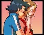 1boy 1girl amada ash_ketchum black_hair blonde_hair blush closed_eyes couple hug hug_from_behind pokemon pokemon_(anime) pokemon_(game) pokemon_xy serena_(pokemon) short_hair smile