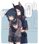2girls animal_ears arknights bangs black_gloves black_hair breasts brown_eyes cat_ears chinese_commentary chinese_text coldcat. collar commentary dobermann_(arknights) dog_ears gloves green_eyes groping gun holding holding_gun holding_weapon jessica_(arknights) long_sleeves medium_breasts midriff mole mole_under_eye multiple_girls open_mouth sweat translation_request trembling weapon yuri
