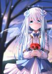 1girl anemone_(flower) aoi_thomas bangs bare_tree blue_bow blue_wings blurry blurry_background blush bow capelet closed_mouth collared_shirt commentary_request crying crying_with_eyes_open depth_of_field dress_shirt eyebrows_visible_through_hair flower hair_between_eyes highres holding holding_flower ice ice_wings looking_at_viewer original outdoors pleated_skirt red_flower shirt skirt smile solo tears transparent_wings tree white_capelet white_hair white_shirt white_skirt wings