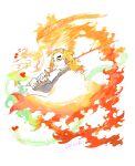 1boy fire flaming_sword flaming_weapon highres holding holding_sword holding_weapon kimetsu_no_yaiba long_hair long_sleeves looking_at_viewer orange_eyes orange_hair rengoku_kyoujurou solo sword tyako2136 upper_body weapon