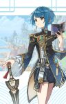1boy bangs blue_hair blurry blurry_background book chinese_clothes closed_mouth clouds cloudy_sky day earrings eyebrows_visible_through_hair frilled_shirt_collar frilled_sleeves frills genshin_impact harbor highres holding holding_book holding_sword holding_weapon jacket jewelry long_sleeves looking_to_the_side male_focus mountain nyantiu open_book otoko_no_ko short_hair shorts single_earring sky solo sword tassel tassel_earrings vision_(genshin_impact) weapon xingqiu_(genshin_impact) yellow_eyes